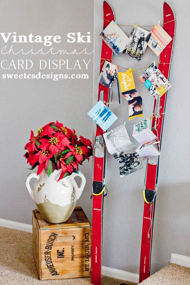 Vintage Ski Christmas Card Display