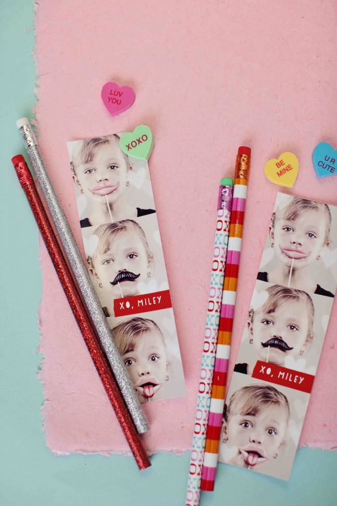 Top 10 Kids Valentine Ideas: Photo Booth Valentines + Pencils & Erasers #peartreegreetings #valentinesdayideas
