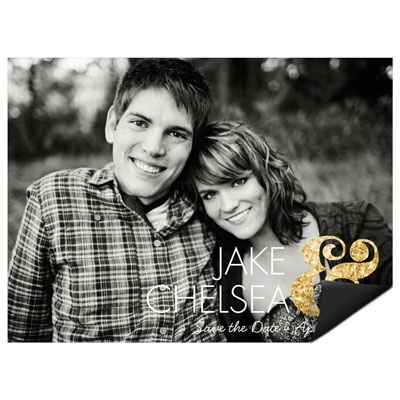 Glittery Ampersand Save the Date Magnets #savethedateideas #peartreegreetings #weddingideas