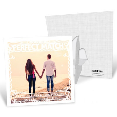 New Save the Date Cards are Golden: Perfect Match Picture Frame Save the Date Cards #peartreegreetings
