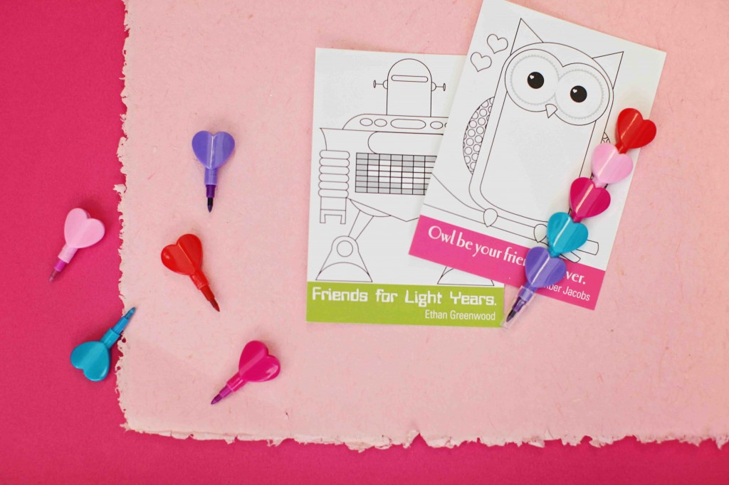 Top 10 Kids Valentine Ideas: Coloring Cards + Markers #peartreegreetings #valentinesdayideas