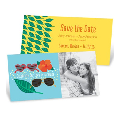 Get the word out about your destination wedding with save the date ideas that play right into your travel plans. #savethedatecards #destinationwedding #peartreegreetings