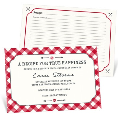 Bridal Shower Invitation Ideas: share recipes! #bridalshower #wedding #peartreegreetings