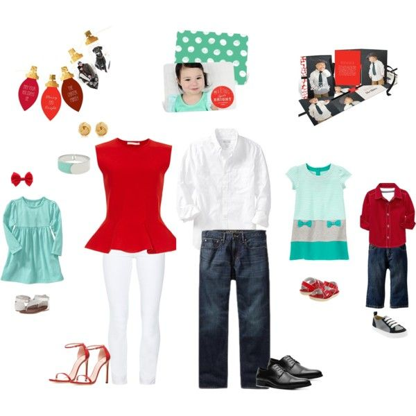 Clothing and style ideas for this year's family photos! #peartreegreetings #clothingideas #red #aqua #Christmascards