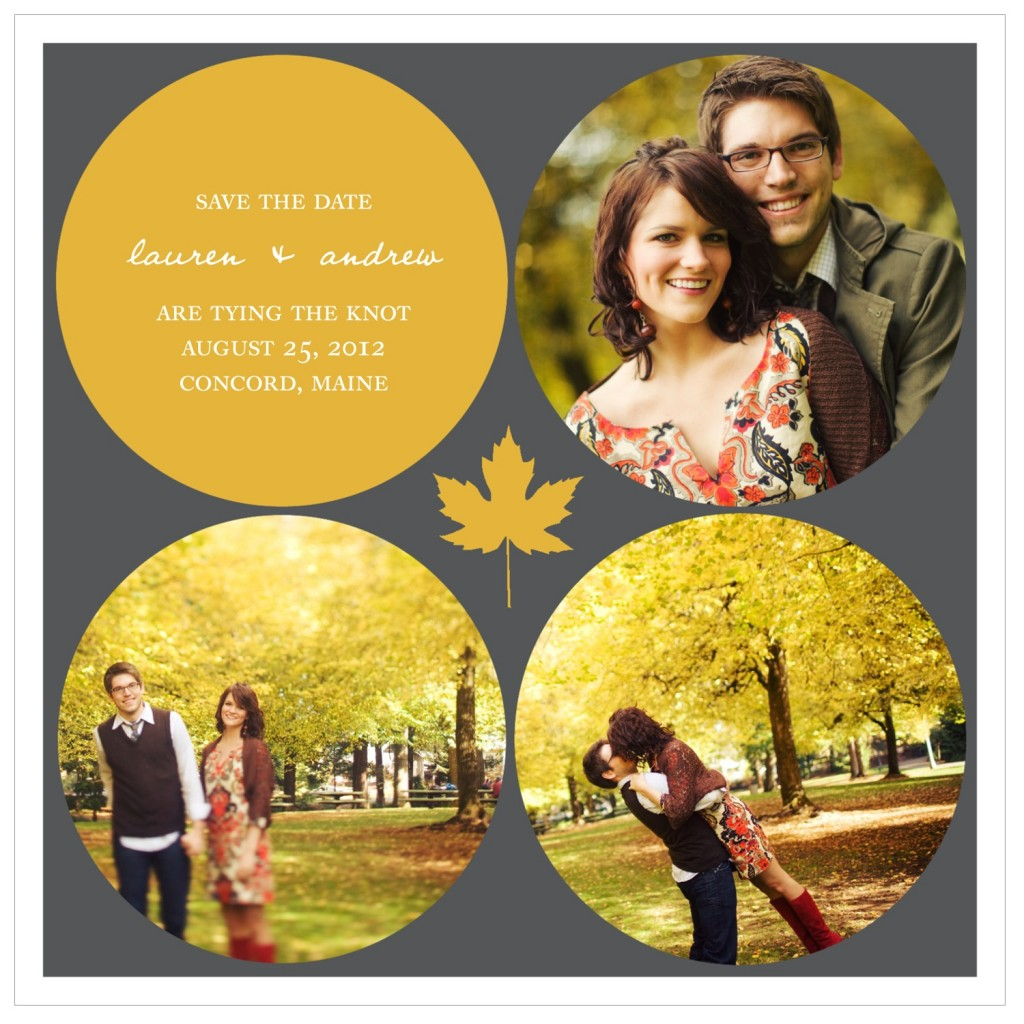 Save the Date Ideas: Circles and Leaf Fall Save the Date Cards