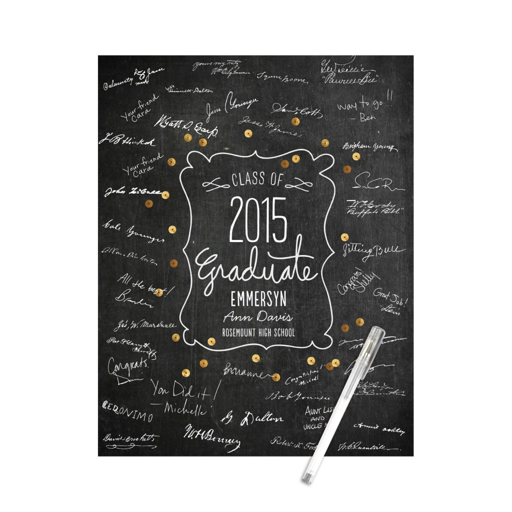 Sequin-Look Guest Book Print Graduation Party Decorations