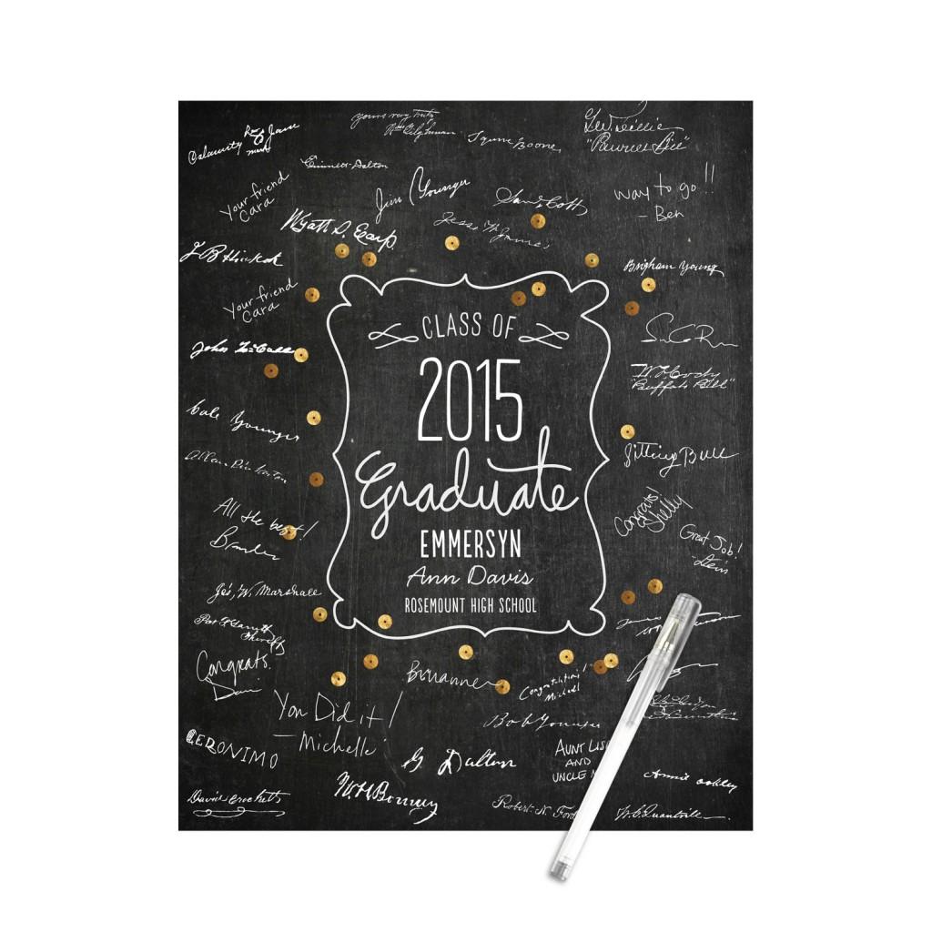 Sequin-Look Guest Book Print Graduation Party Decorations