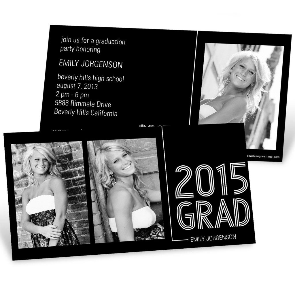 Striped Success Horizontal Duo Graduation Announcements