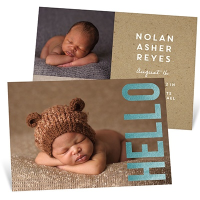 Big Foil Hello birth announcements