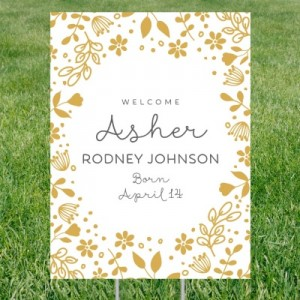 Floral Welcome Vertical Birth Announcement Yard Signs