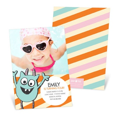 Monster party in Orange Kids Birthday Invitations