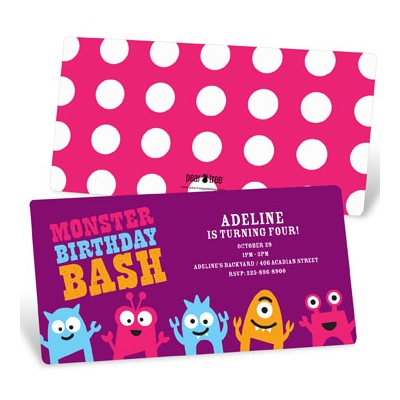 My Little Monsters in Purple Kids Birthday Invitations
