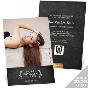 Chalkboard Laurels With Logo Graduation Announcements