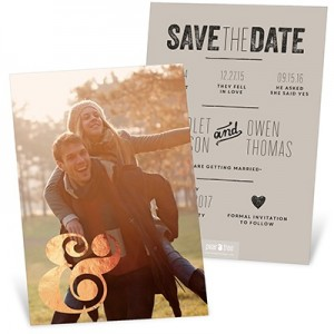 Foil Ampersand Vertical Save The Date Cards