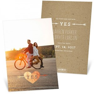 Foil Heart Vertical Save The Date Cards