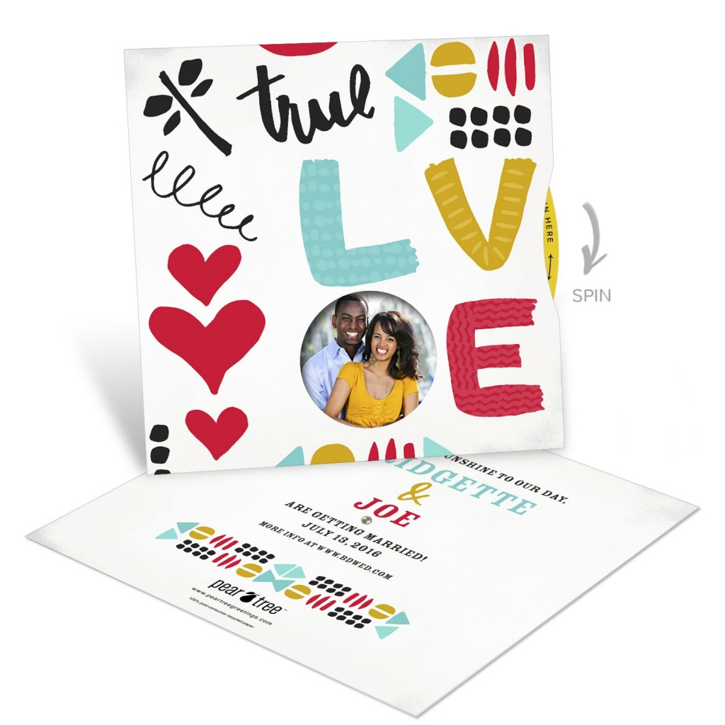 Save the Date Ideas - Love Doodles Photo Spinner Save the Date Cards