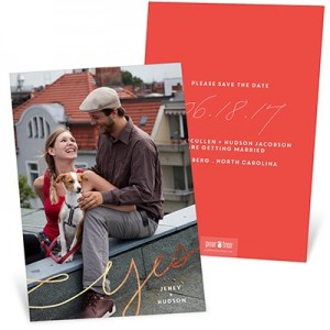 Swirling Foil Yes Vertical Save The Date Cards