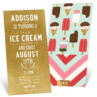 Cake Ice Cream Kids Birthday Invitations