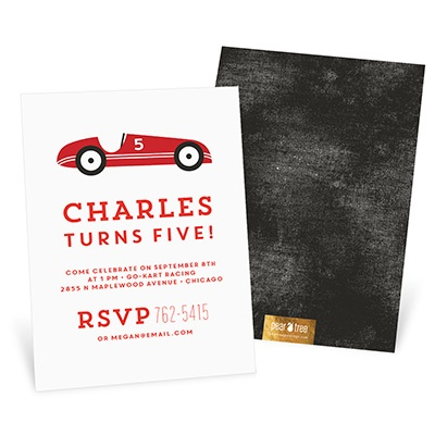 Go Cart Kids Birthday Invitations