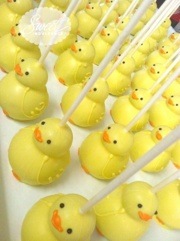 Rubber duck baby shower ideas cake pops