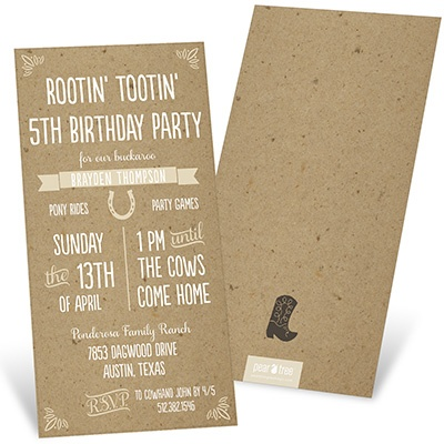 Western Playbill Kids Birthday Invitations