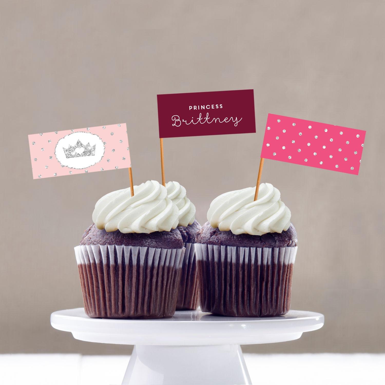 Glitter Princess Cupcake Flags