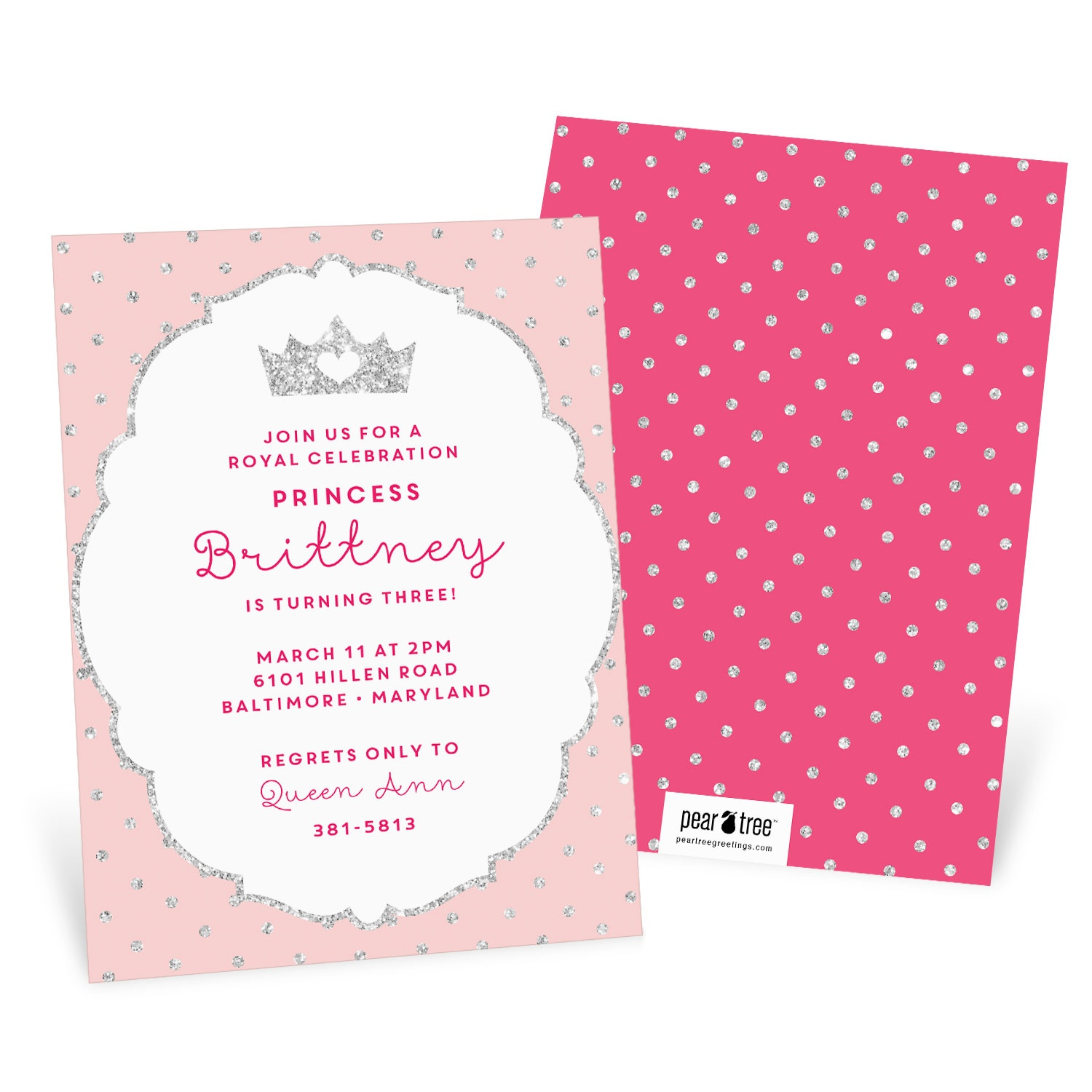 Glitter Princess Kids Birthday Invitation