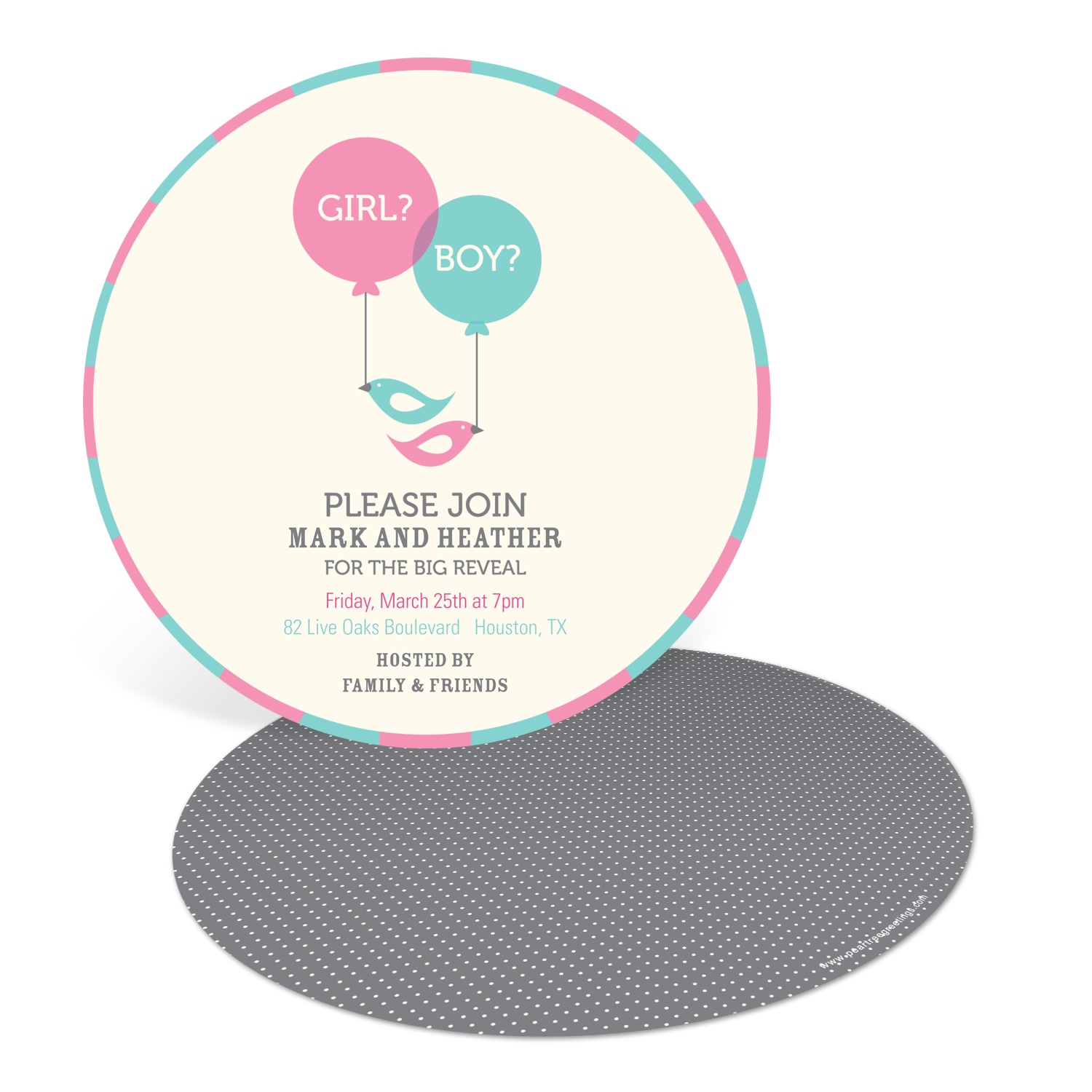 Round Reveal Baby Shower Invitations
