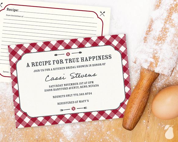 Gingham Recipe Bridal Shower Invitations