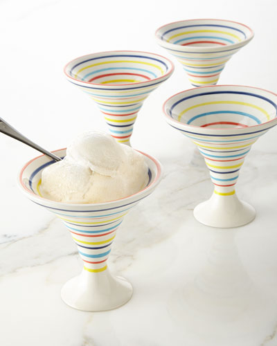 These unique bowls make stripes a fun accent for your sweet treat!