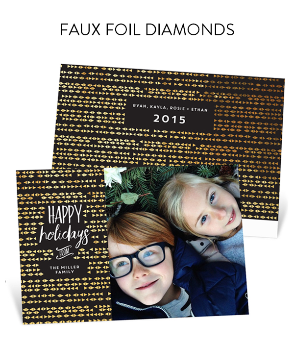 Faux Foil Diamonds Holiday Photo Cards | Genevieve Gorder for Pear Tree