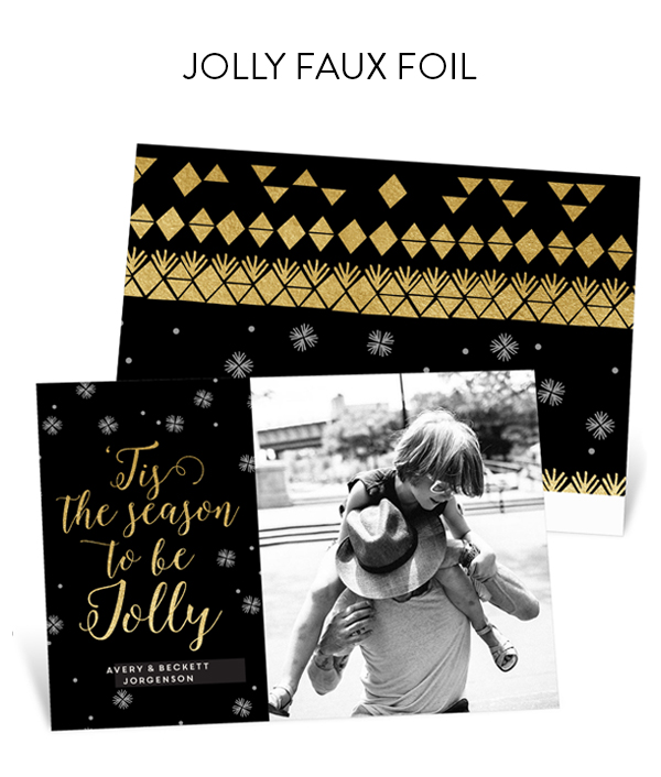 Jolly Faux Foil Holiday Photo Cards | Genevieve Gorder for Pear Tree