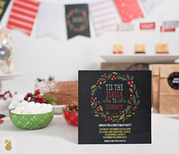 Holiday Party Invitations - Holly Wreath In Black
