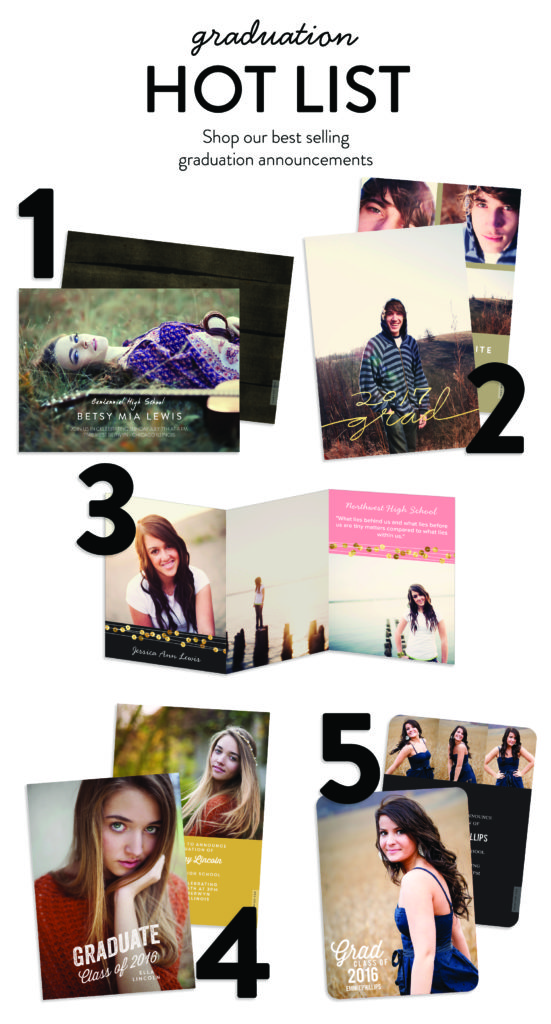 Graduation Hot List: top graduation announcement ideas from Pear Tree