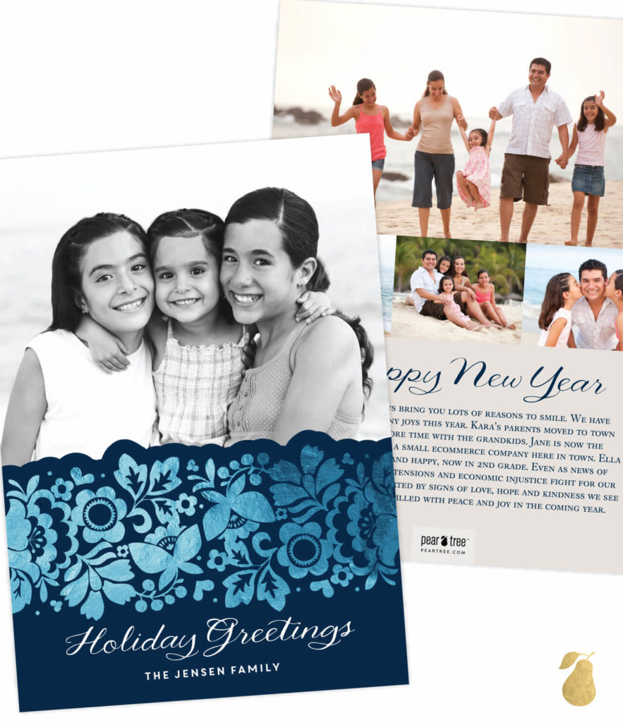 Floral Foil Edge -- Christmas Cards