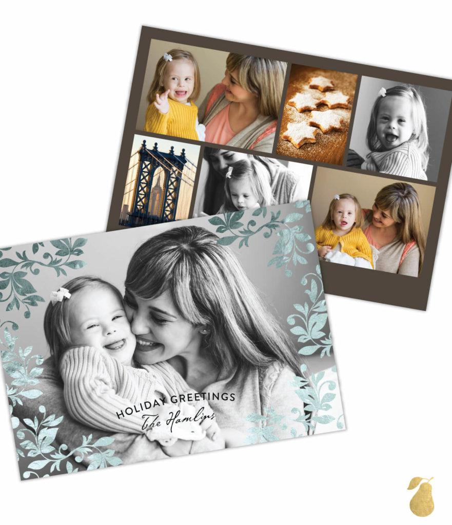 Leafy Foil Frame -- Christmas Cards