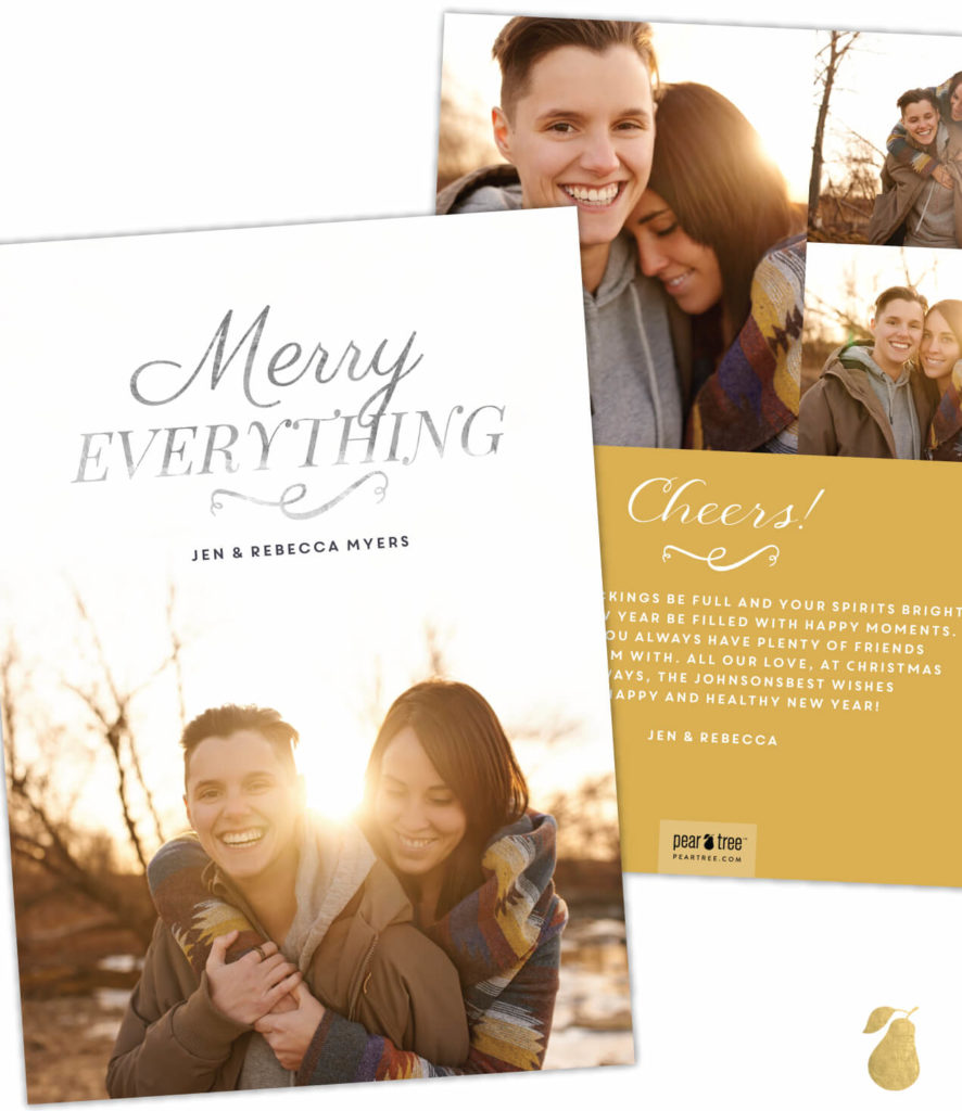 Merry Everything Vertical Foil -- Christmas Cards