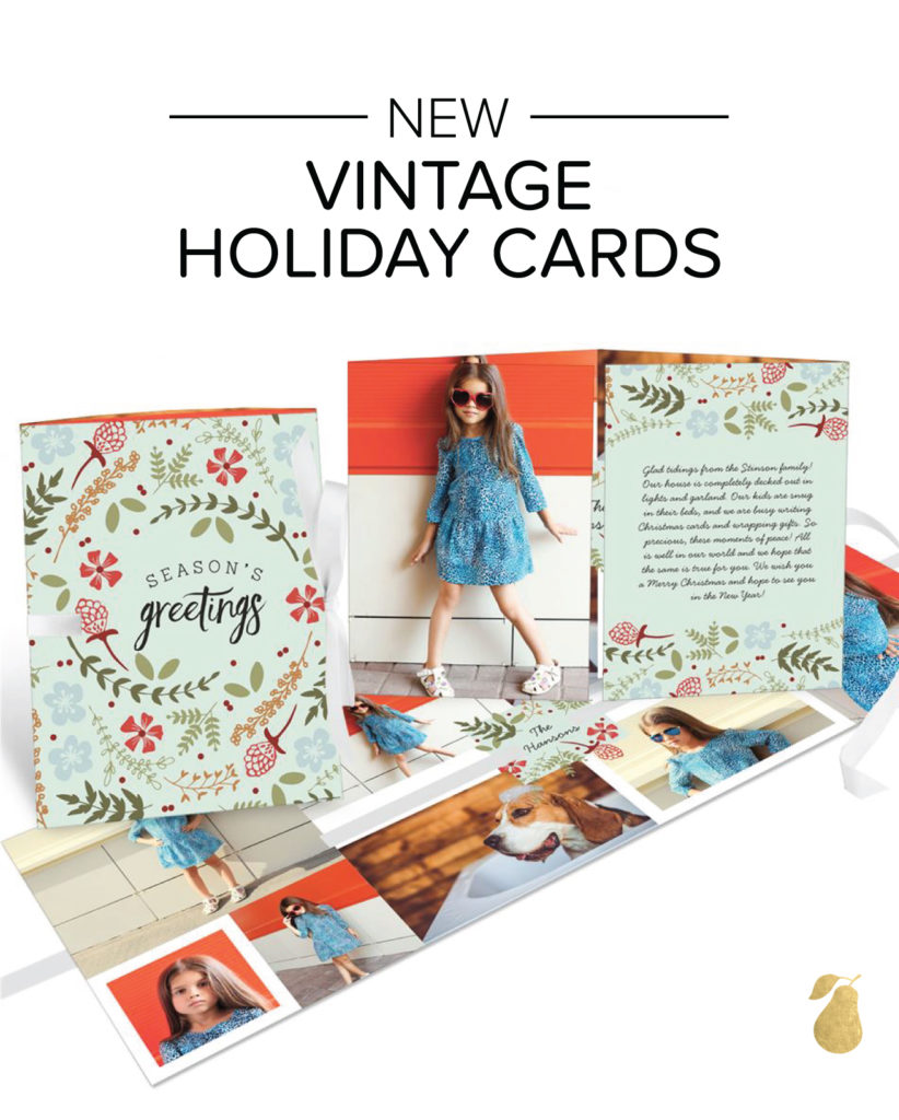 Vintage Holiday Cards - Holiday Florals Ribbon Booklet