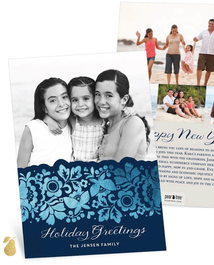 Floral Foil Edge -- Latin Christmas Cards