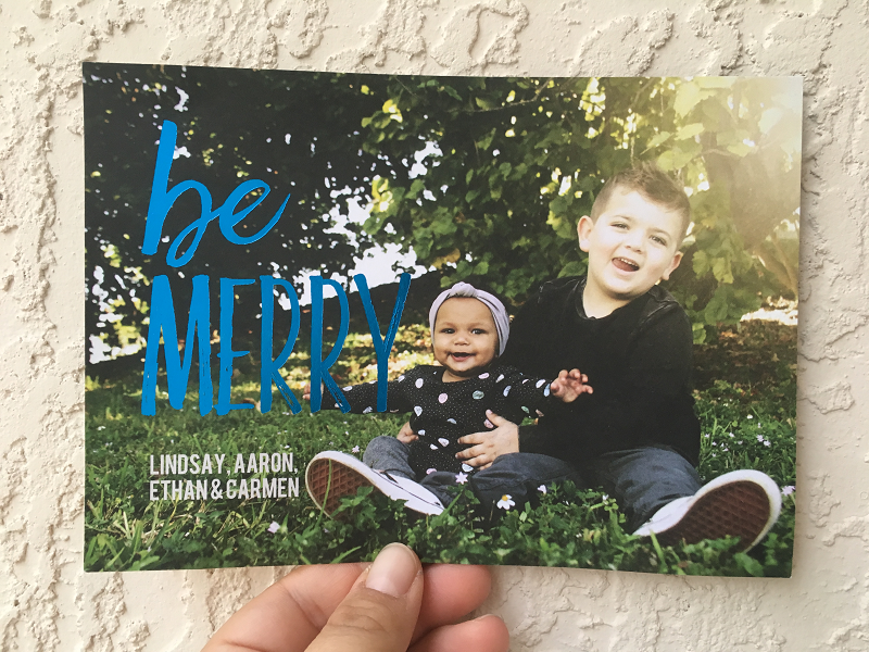 The front side of Be Happy -- Christmas Card from You Are The Roots Blog