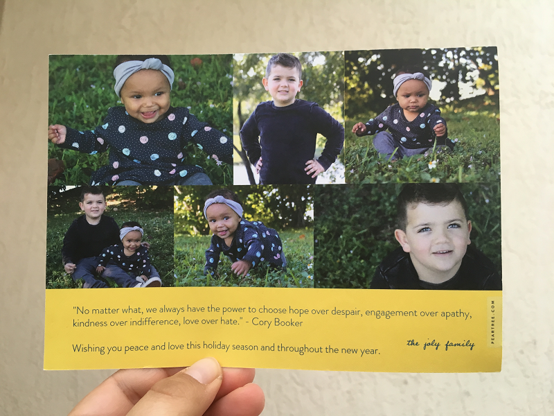 The back side of Be Happy -- Christmas Card from You Are The Roots Blog