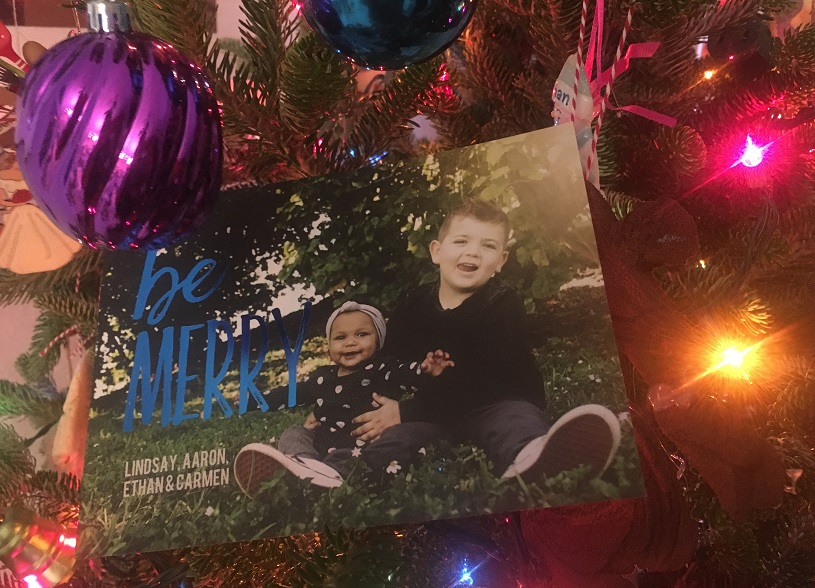 Be Happy -- Christmas Card in Tree